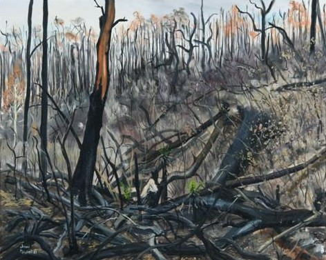 This painting is from the Ash Wednessday Series painted after the fires 1983
